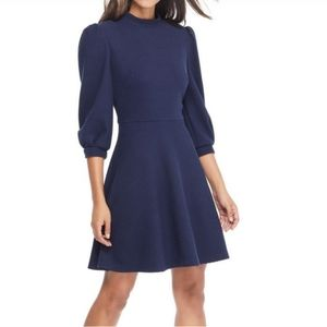 NWT Gal Meets Glam Maggie Navy Ribbed Knit Dress
